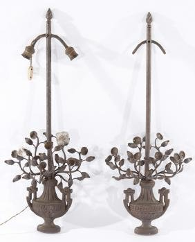 GOOD PAIR NEOCLASSICAL WROUGHT CAST IRON SCONCES