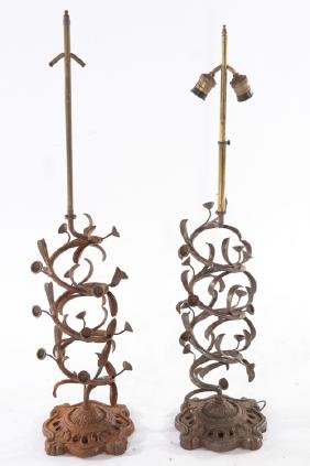 PAIR WROUGHT IRON SWIRL TABLE LAMPS IRON BASES