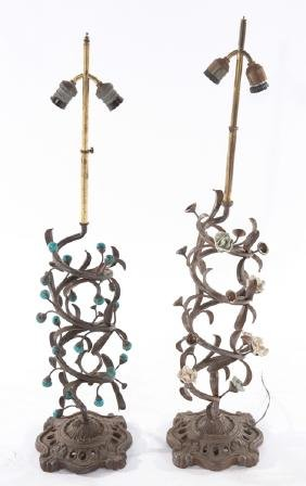 PAIR WROUGHT IRON SWIRL FORM TABLE LAMPS