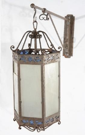 IRON GLASS LANTERN MATCHING WALL BRACKET C.1910