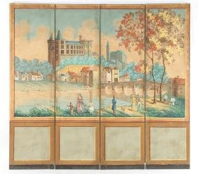 PAINTED CONTINENTAL 4 PANEL FOLDING SCREEN C.1920