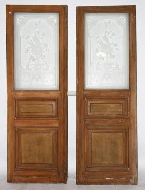 TWO CARVED AND PAINTED DOORS ETCHED GLASS C.1900