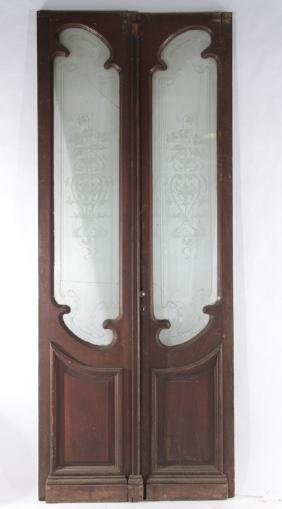 PAIR CARVED WALNUT ENTRY DOORS ETCHED GLASS 1900