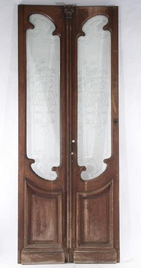 CARVED WALNUT ENTRY DOORS ETCHED GLASS PANEL 1900