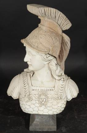 CARVED MARBLE TRAVERTINE ROMAN INSPIRED BUST