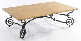 LARGE PINE TOP COFFEE TABLE WITH IRON LEGS C.1960
