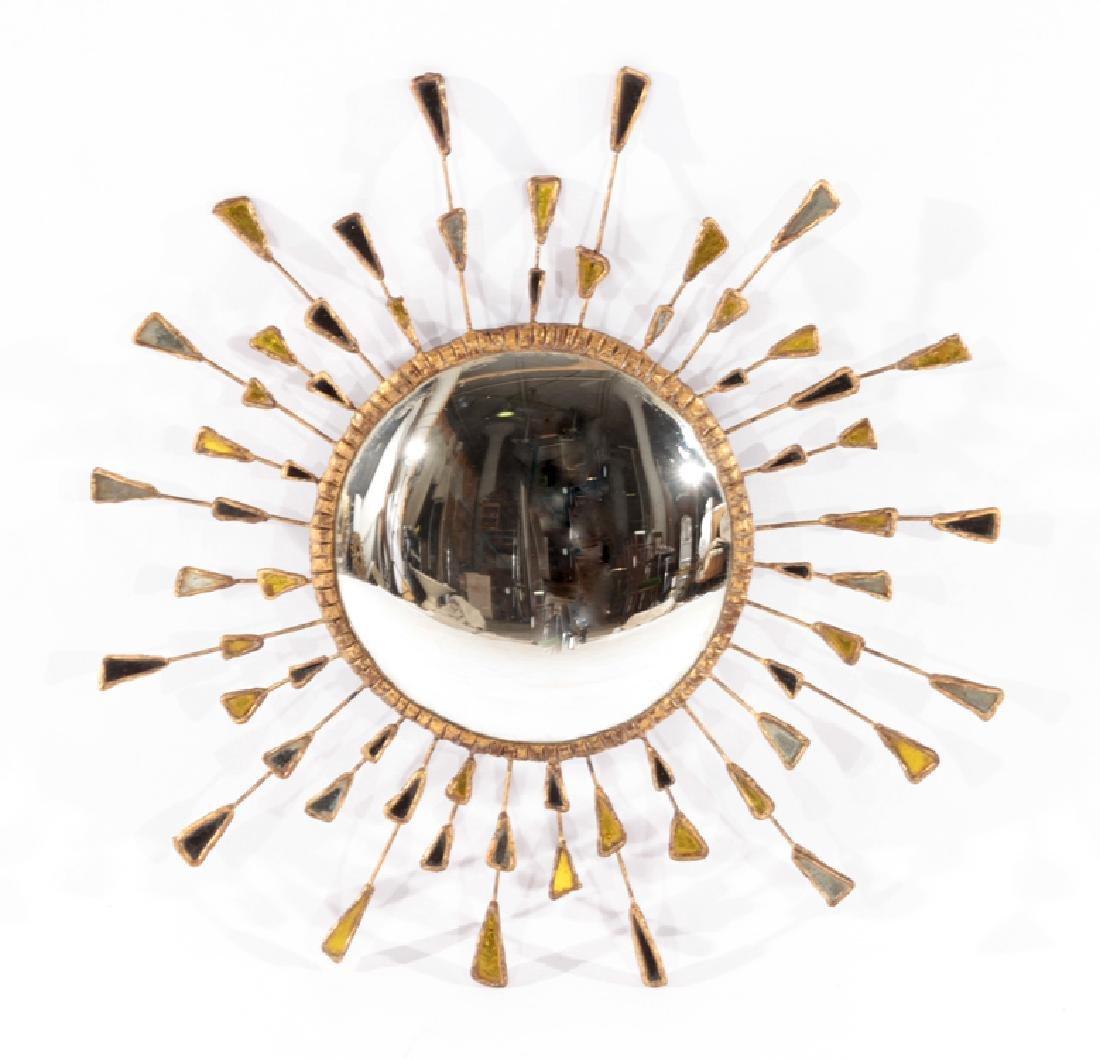 GILT WOOD SUNBURST MIRROR SHAPED GLASS CIRCA 1960