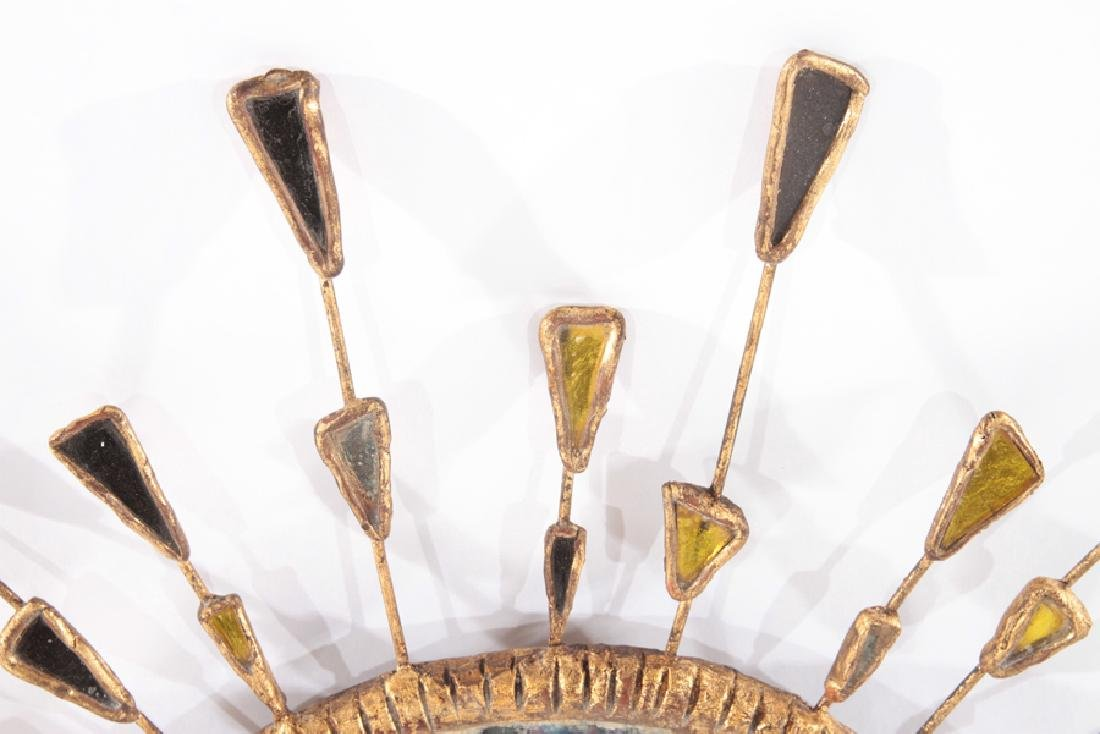 GILT WOOD SUNBURST MIRROR SHAPED GLASS CIRCA 1960 - 2