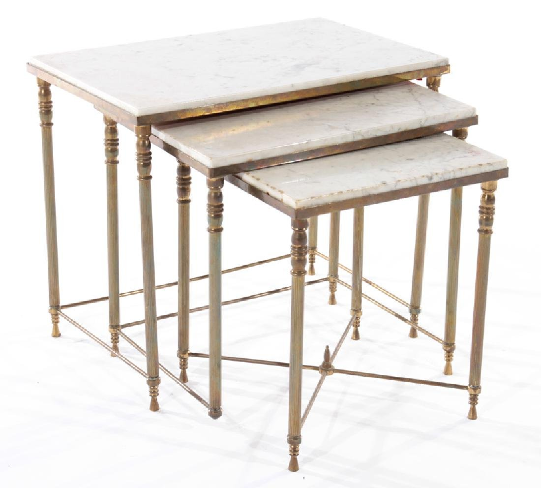 SET OF FRENCH BRASS NESTING TABLES CIRCA 1950