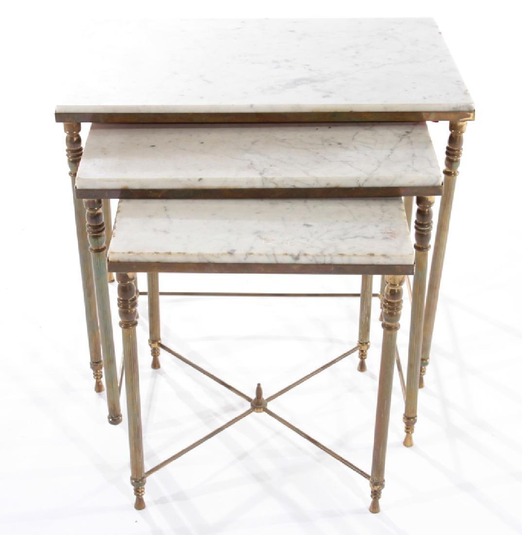 SET OF FRENCH BRASS NESTING TABLES CIRCA 1950 - 2