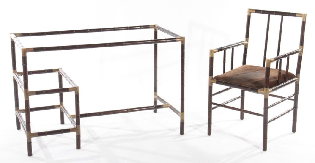FAUX BAMBOO GLASS TOP DESK & CHAIR BILLY HAINES