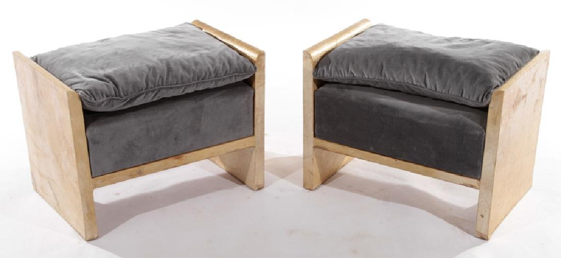 PAIR PARCHMENT BENCHES VELVET UPHOLSTERY