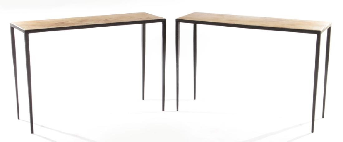 PAIR JEAN-MICHEL FRANK STYLE IRON CONSOLE TABLES