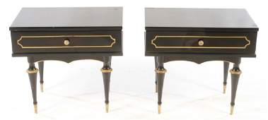 PAIR OF BRONZE MOUNTED EBONIZED END TABLES C1940