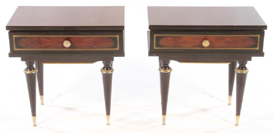 PAIR OF EBONIZED MAHOGANY END TABLES C.1950