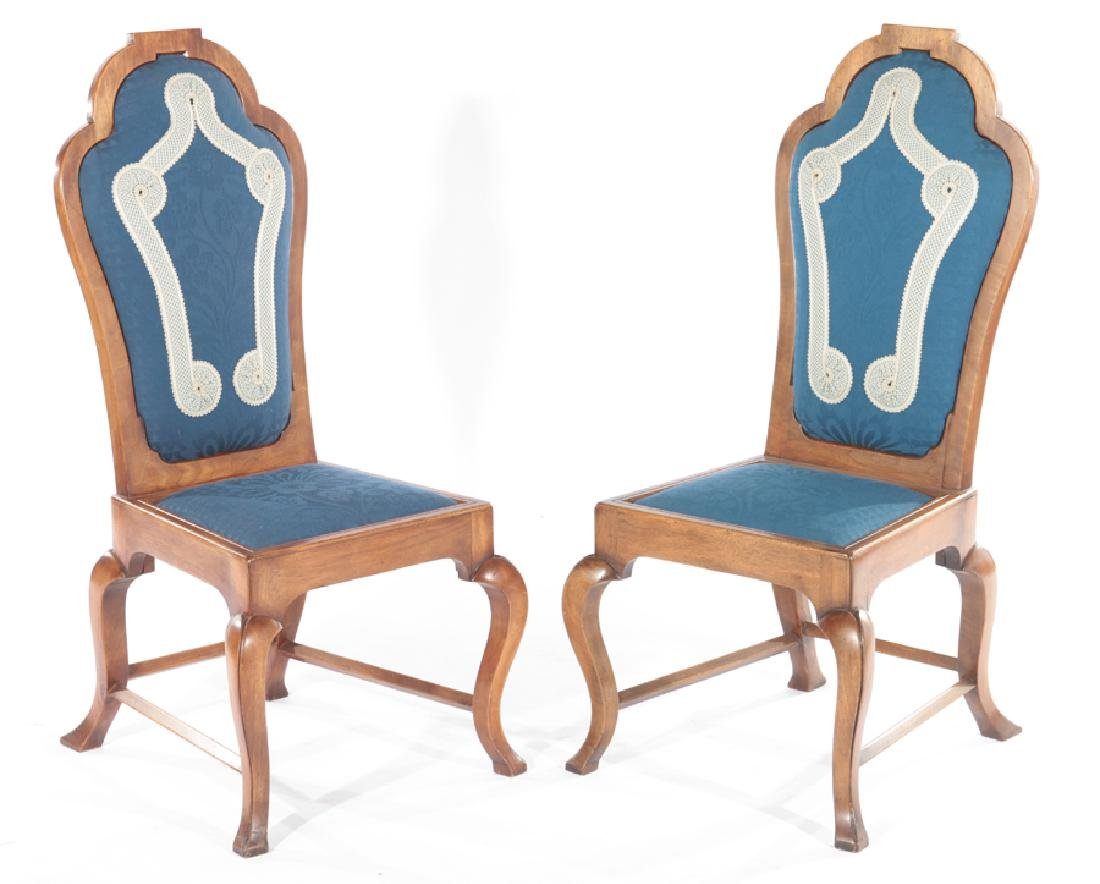 PAIR OF WALNUT SIDE CHAIRS TOMBSTONE BACK