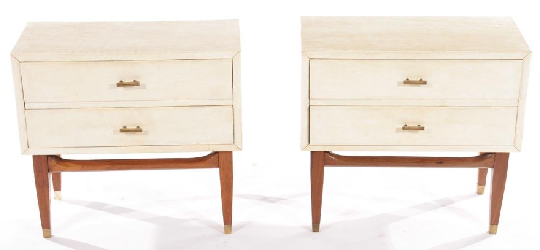 PAIR 2 DRAWER PARCHMENT COVERED END TABLES 1940