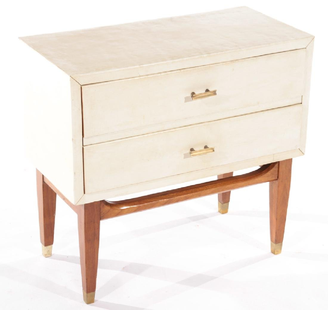 PAIR 2 DRAWER PARCHMENT COVERED END TABLES 1940 - 3
