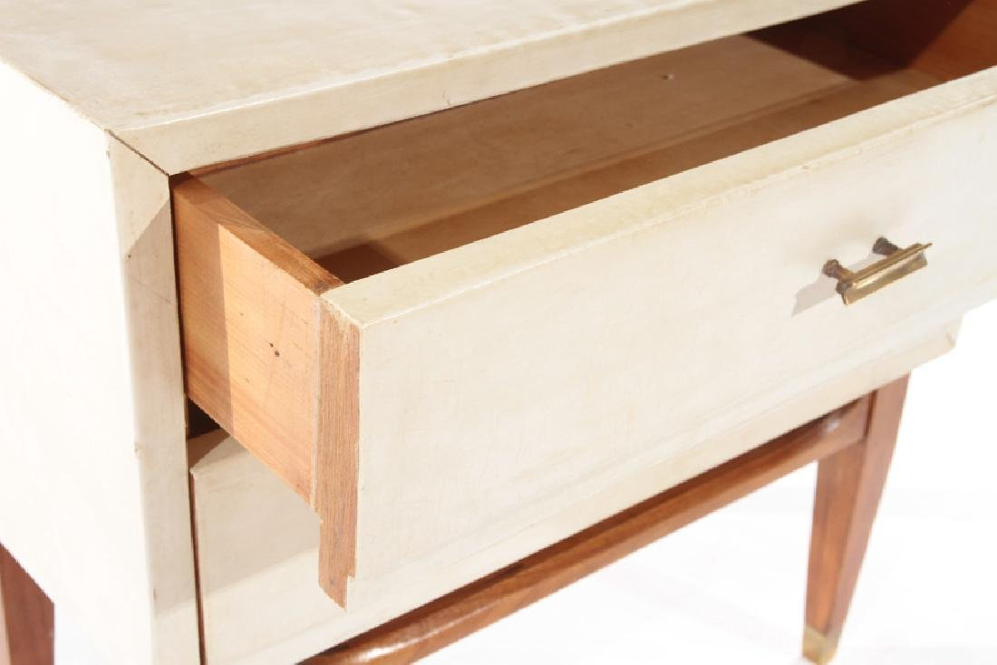 PAIR 2 DRAWER PARCHMENT COVERED END TABLES 1940 - 5