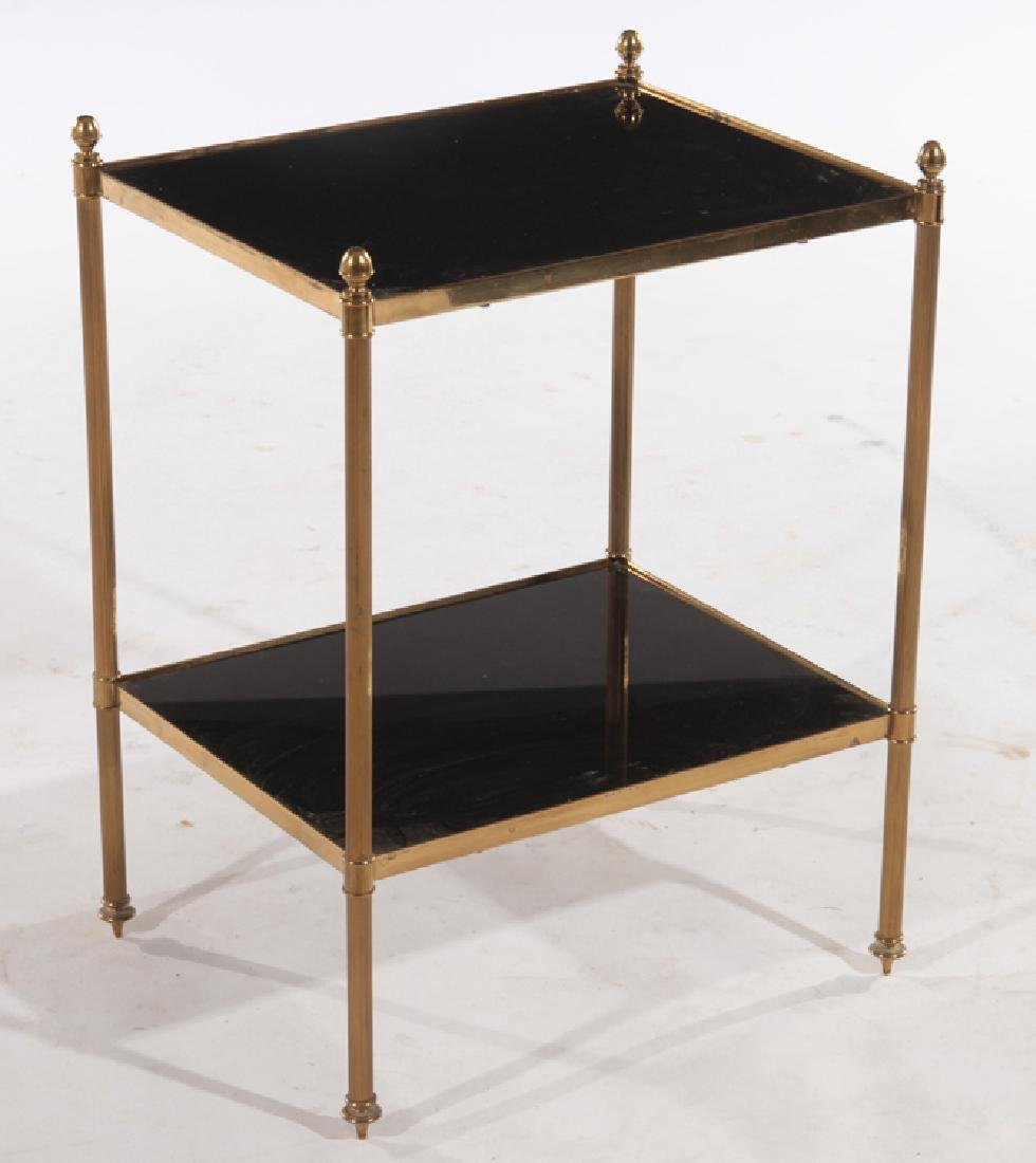 FRENCH BRONZE SIDE TABLE BLACK GLASS TOP C.1970