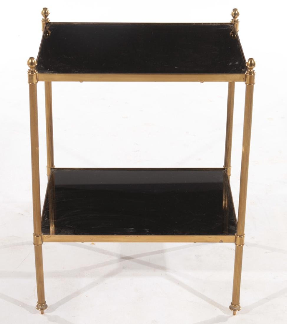 FRENCH BRONZE SIDE TABLE BLACK GLASS TOP C.1970 - 2