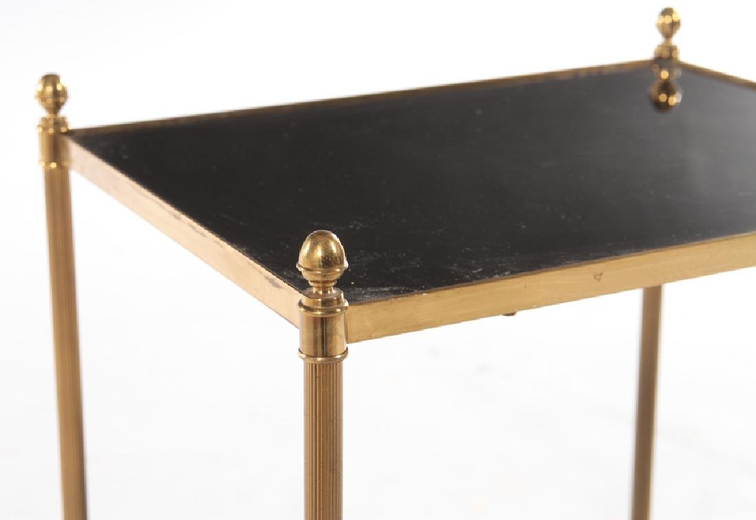 FRENCH BRONZE SIDE TABLE BLACK GLASS TOP C.1970 - 4