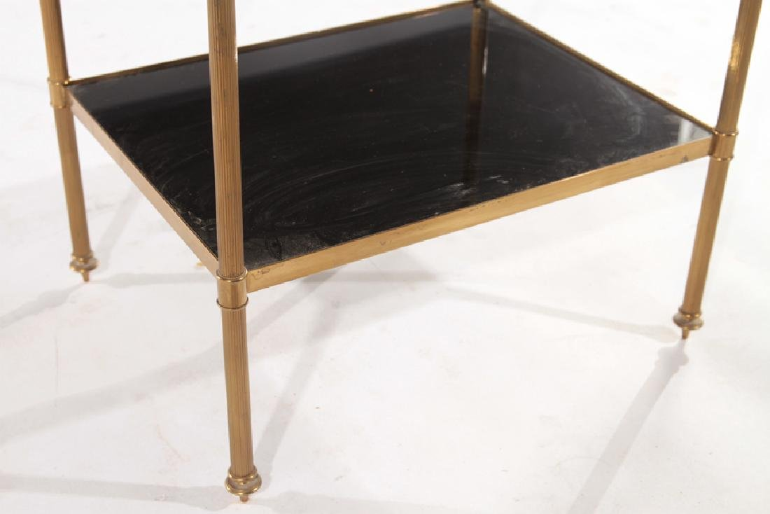 FRENCH BRONZE SIDE TABLE BLACK GLASS TOP C.1970 - 5