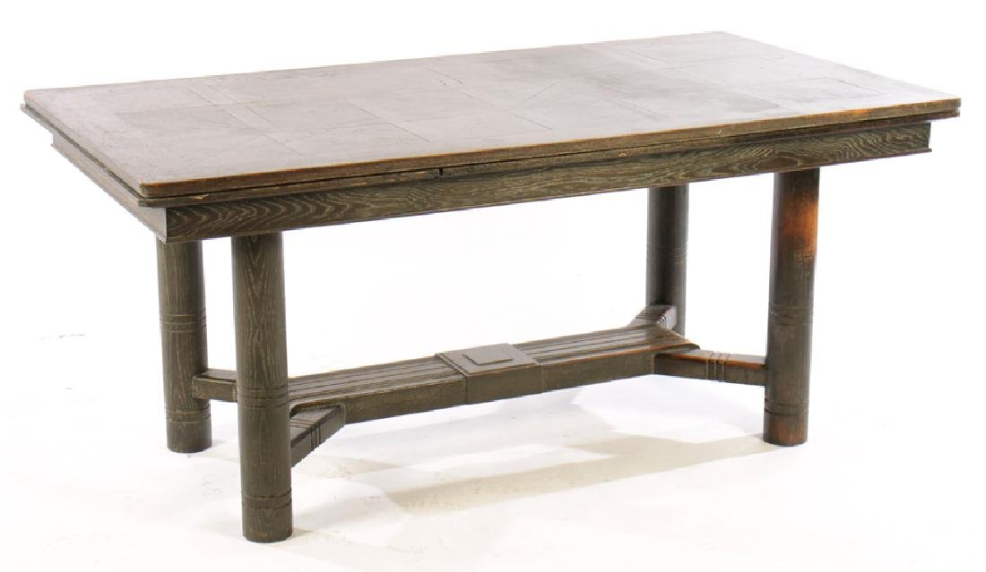 CERUSED OAK FRENCH DINING TABLE 2 LEAVES 1940