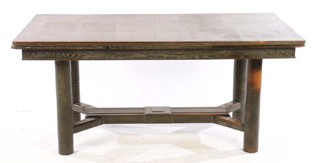 CERUSED OAK FRENCH DINING TABLE 2 LEAVES 1940 - 2
