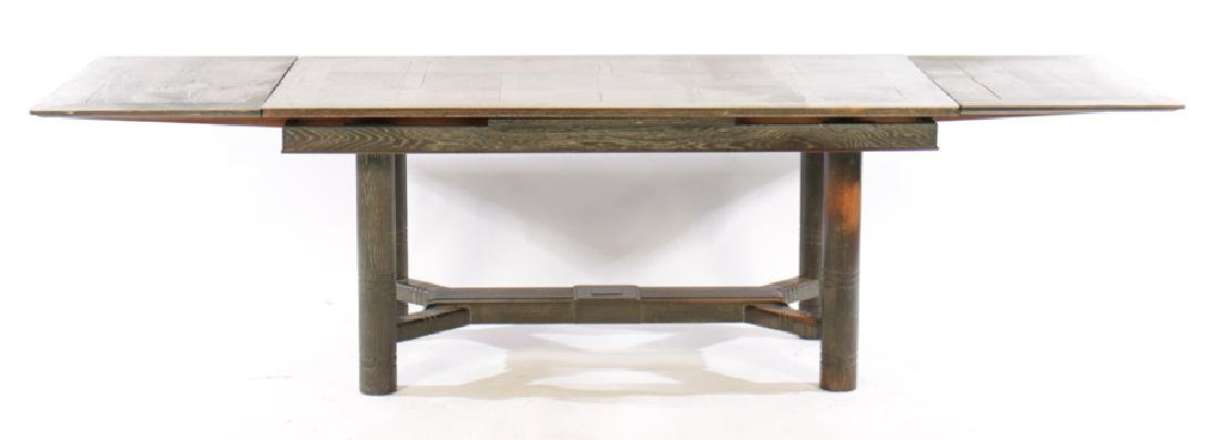 CERUSED OAK FRENCH DINING TABLE 2 LEAVES 1940 - 5