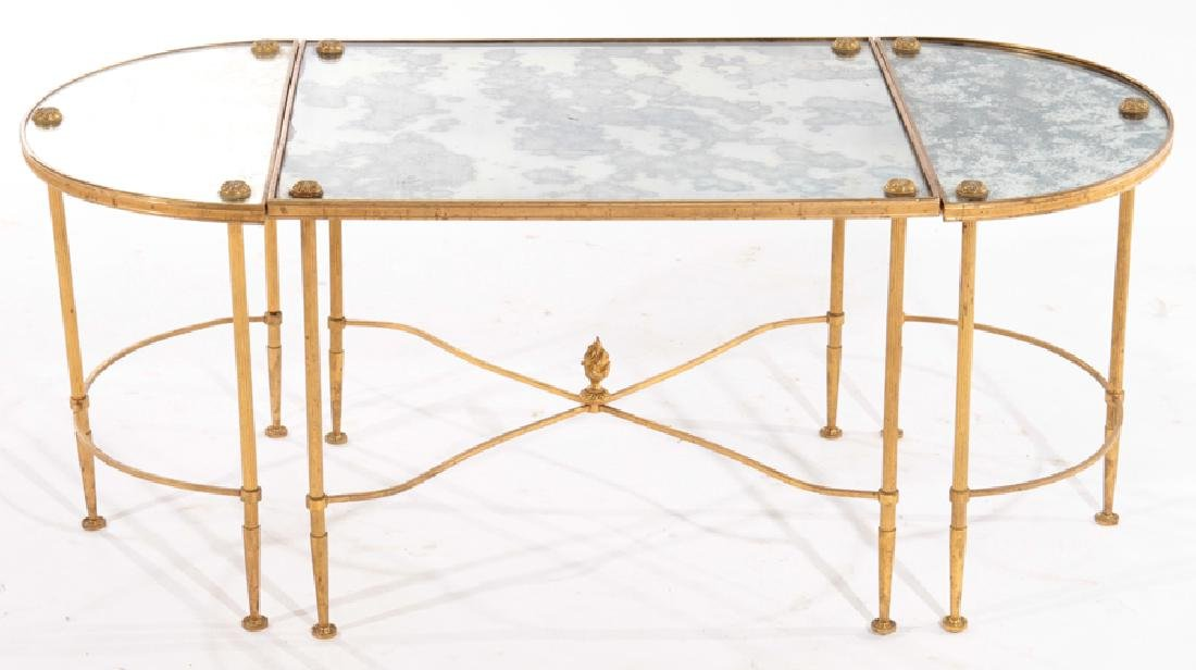 FRENCH IRON BRONZE 3 PART COFFEE TABLE 1960
