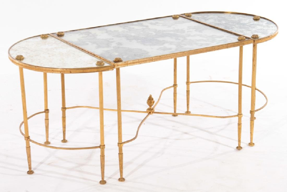 FRENCH IRON BRONZE 3 PART COFFEE TABLE 1960 - 2