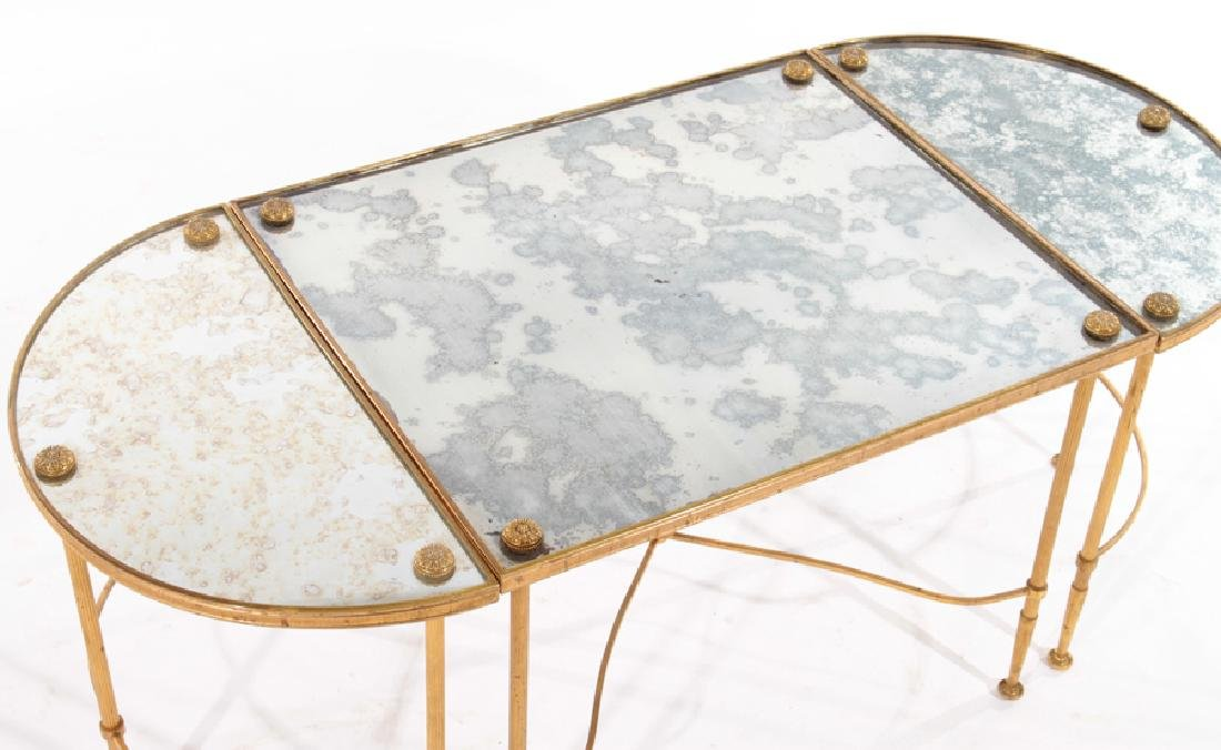 FRENCH IRON BRONZE 3 PART COFFEE TABLE 1960 - 3