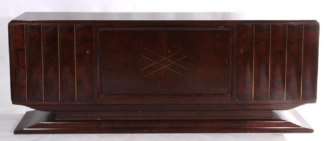 MAHOGANY BRASS INLAID ART DECO SIDEBOARD 1935