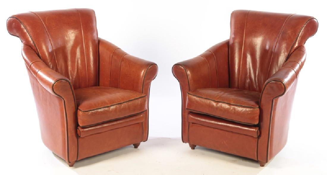 PAIR OF ART DECO FRENCH LEATHER CLUB CHAIRS C.1930