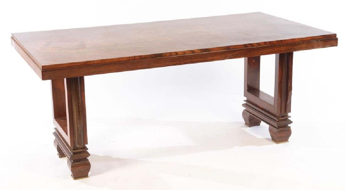 FRENCH ART DECO ROSEWOOD DINING TABLE BRONZE FEET