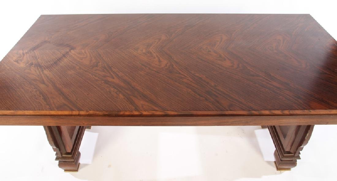 FRENCH ART DECO ROSEWOOD DINING TABLE BRONZE FEET - 3
