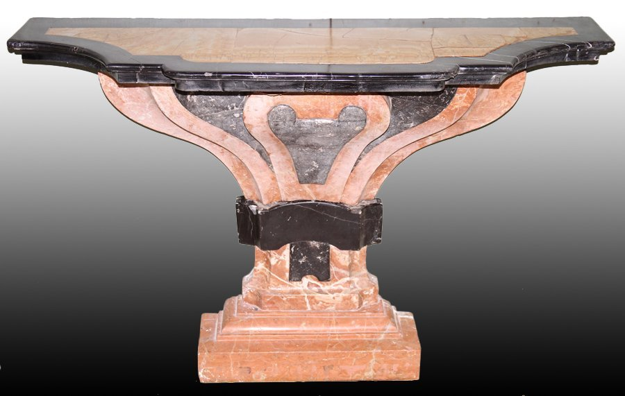 PAIR ART DECO INSPIRED MARBLE STONE CONSOLE TABLE - 2