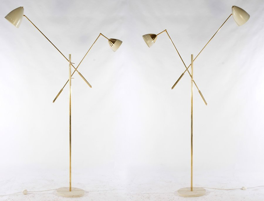 PAIR ITALIAN BRASS ADJUSTABLE FLOOR LAMPS