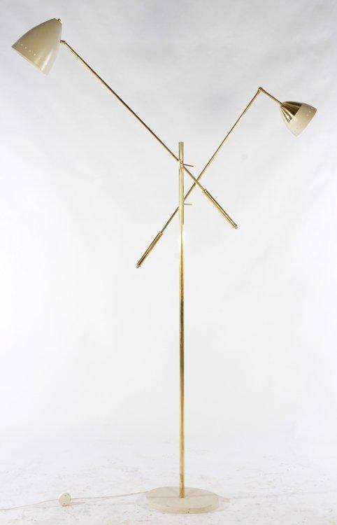 PAIR ITALIAN BRASS ADJUSTABLE FLOOR LAMPS - 2
