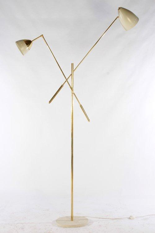 PAIR ITALIAN BRASS ADJUSTABLE FLOOR LAMPS - 3