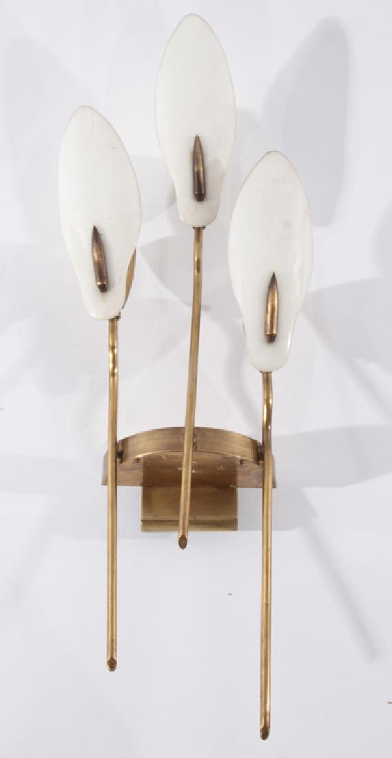 PAIR ITALIAN 3 ARM BRASS SCONCES CIRCA 1940 - 2