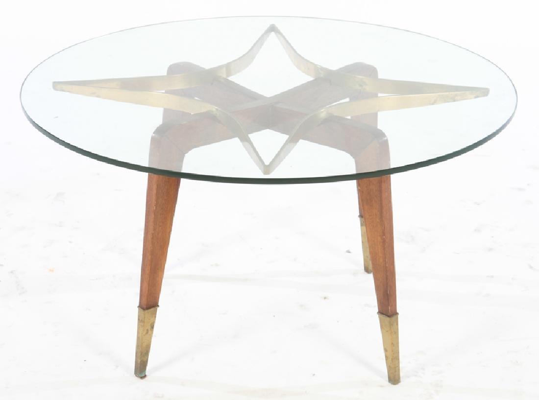 ITALIAN BRONZE GLASS TOP COFFEE TABLE 1950