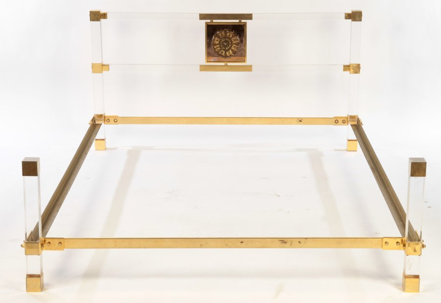 ITALIAN LUCITE AND BRASS BED