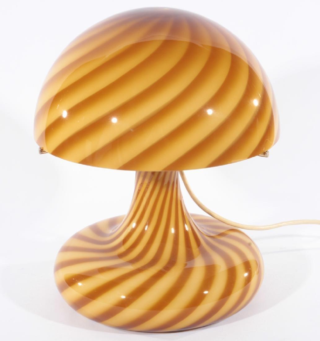 VETRI MURANO SWIRL GLASS MUSHROOM TABLE LAMP
