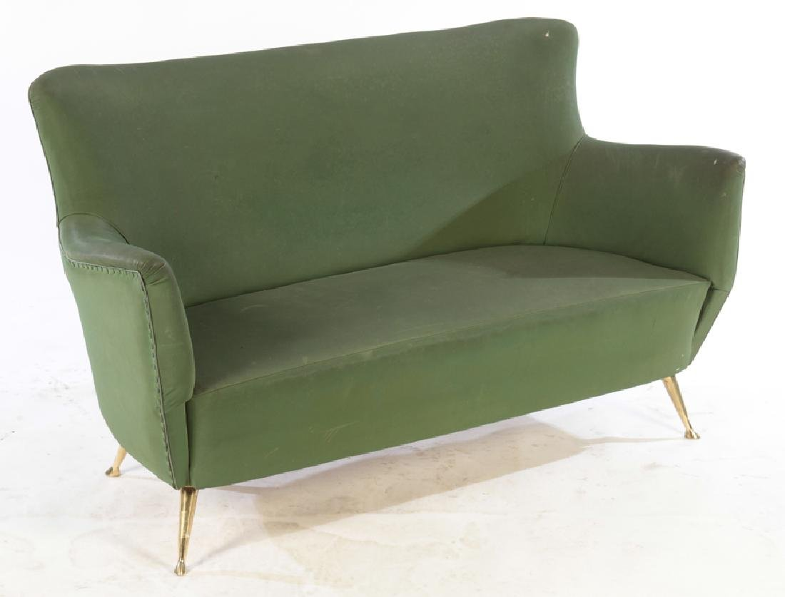 UPHOLSTERED ISA SETTEE BRONZE LEGS CIRCA 1950