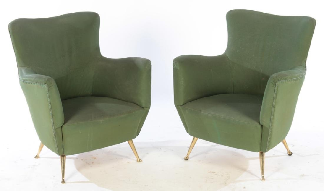 PAIR OF UPHOLSTERED ISA CLUB CHAIRS C. 1950