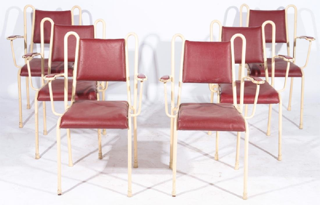 SET 6 ITALIAN METAL UPHOLSTERED ARMCHAIRS C.1950