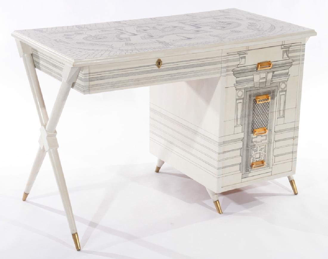 PAINTED FORNASETTI STYLE 5 DRAWER DESK 1960