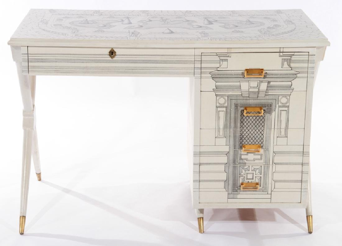 PAINTED FORNASETTI STYLE 5 DRAWER DESK 1960 - 2